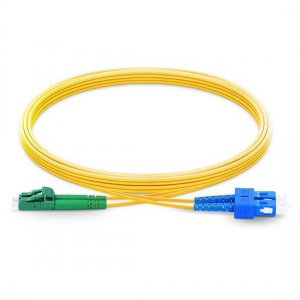 10m LC APC to SC UPC Duplex 2.0mm PVC(OFNR) SMF Bend Insensitive Fiber Patch Cable
