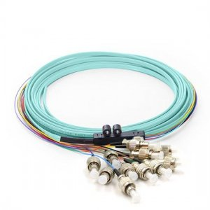 12 Fibers LC/SC/FC/ST/E2000 OM4 Multimode Ribbon Fiber Optic Pigtail