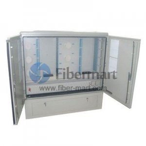 Max. 576 Fiber Fusion Splices SMC Fiber Optic Cross Connection Cabinet with Single-sided Center Opening