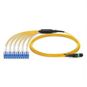 2M MTP Female to 6 LC UPC Duplex 12 Fibers OS2 9/125 Single Mode HD Harness Cable, Polarity A, LSZH Bunch