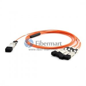 1M(3.3ft) 40GBASE QSFP+ to 4 SFP+ Breakout Active Optical Cable