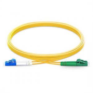 10m LC APC to LC UPC Duplex 2.0mm PVC(OFNR) SMF Bend Insensitive Fiber Patch Cable