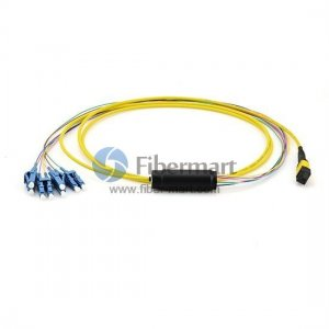 4M 8 Fibers Single-Mode 0.35dB MTP to LC(0.9mm) Harness Cable,Polarity Type A, LSZH Bunch Yellow