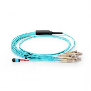 1M MTP Female to 10 LC UPC Duplex 20 Fibers 10G OM3 50/125 Multimode Harness Cable, Polarity B, Elite, LSZH Bunch