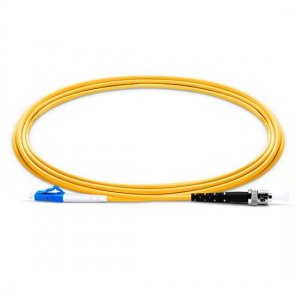 1M LC UPC to ST UPC Simplex 2.0mm PVC(OFNR) 9/125 Single Mode Fiber Patch Cable