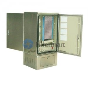 Max. 576 Fiber Fusion Splices 304SS Fiber Optic Cross Connection Floor Mount Cabinet with Side Opening