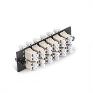 Fiber Adapter Panel with 12 LC Duplex OM1/OM2 Multimode Adapters (Electric Ivory), Zirconia Ceramic