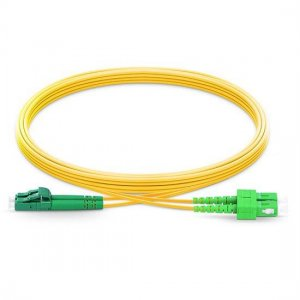 10M LC APC to SC APC Duplex 2.0mm OFNP 9/125 Single Mode Fiber Patch Cable