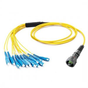 24 Fibers IP67 MPO to Standard LC/SC/ST/FC Singlemode Waterproof Fiber Optic Patch Cable