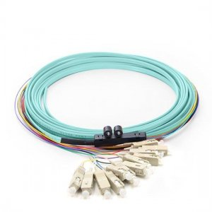 12 Fibers LC/SC/FC/ST/E2000 OM3 Multimode Ribbon Fiber Optic Pigtail