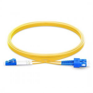 10M LC UPC to SC UPC Duplex 2.0mm PVC(OFNR) 9/125 Single Mode Fiber Patch Cable