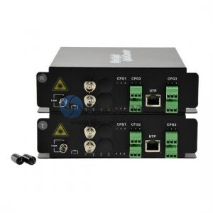 2 Channel Video & 1 Channel Reverse Data & 2 Bi-Directional Audio to Fiber SM 20km Optical Video Multiplexer