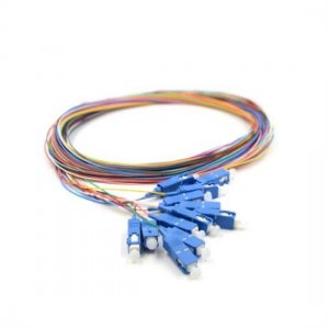 12 Fibers LC/SC/FC/ST/E2000 OM3 Multimode ColorCoded Fiber Optic Pigtail, Unjacketed