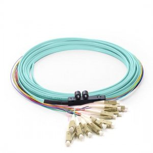 12 Fibers LC/SC/FC/ST/E2000 OM1/OM2 Multimode Ribbon Fiber Optic Pigtail