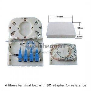 4 Fibers FC Wall Mounted Fiber Terminal Box as Distribution Box with Pigtails and Adapters