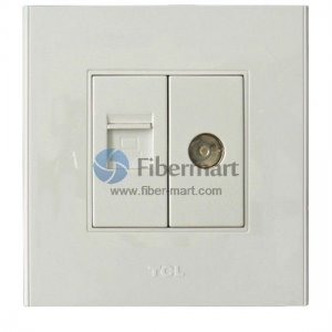 TCL Legrand 1xRJ45+1xTV Outlet Socket Wall Face Plate 86 Type A6 Series