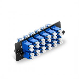 Fiber Adapter Panel with 12 LC Duplex OS2 Singlemode Adapters (Blue), Zirconia Ceramic