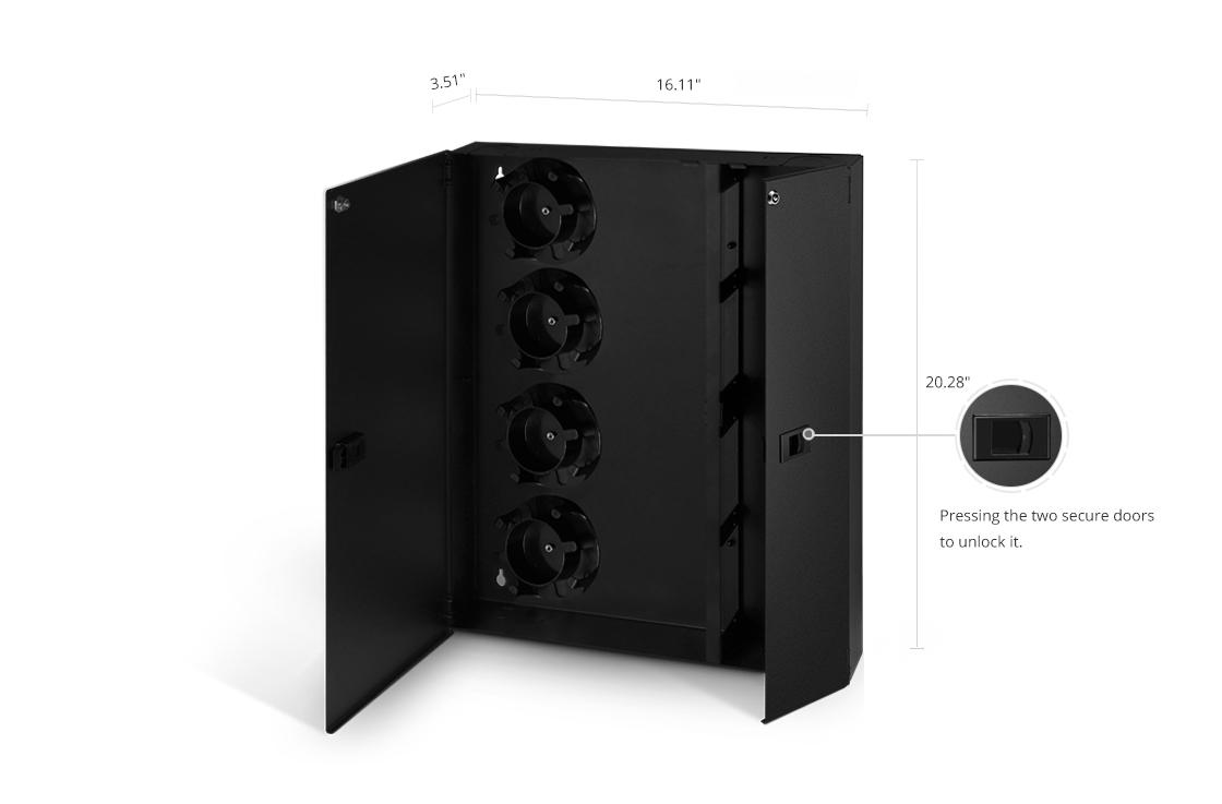 Enclosure Holds 2 LGX Plates Dual Door Wall Mount Fiber Optic Patch Panel